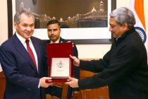 The Minister of Defence and General of Army of Russia Sergey K. Shoygu and the Union Minister for Defence, Manohar Parrikar