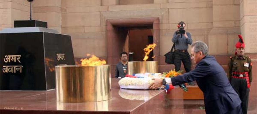 Minister of Defence and General of Army of Russia Sergey K Shoygu laying wreath at Amar Jawan Jyoti, in New Delhi on January 21, 2015.