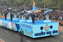 The tableau of Indian Air Force passes through the Rajpath during the full dress rehearsal for the Republic Day Parade-2015