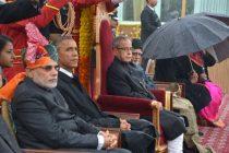 The President, Pranab Mukherjee, the Vice President, Mohd. Hamid Ansari, the PM, Narendra Modi and the Chief Guest US President,