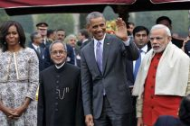 The President, Pranab Mukherjee and the Prime Minister, Narendra Modi with the Chief Guest of Republic Day, US President,