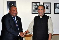 The Minister for Agriculture, Radha Mohan Singh welcomes the Minister for Agriculture, Rural and Maritime Development, Fiji,