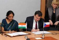 The MoS for Commerce & Industry (IC), Nirmala Sitharaman and the Minister of Industry and Trade, Czech Republic, Jan Mladek