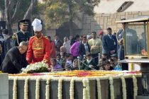 The President, Pranab Mukherjee laying wreath at the Samadhi of Mahatma Gandhi on the occasion of Martyr's Day, at Rajghat