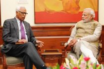 The Governor of Jammu and Kashmir, N.N. Vohra calling on the Prime Minister, Narendra Modi, in New Delhi on January 31, 2015.