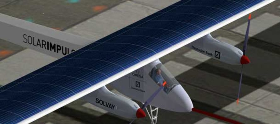 Solar plane takes off for Hawaii from Japan