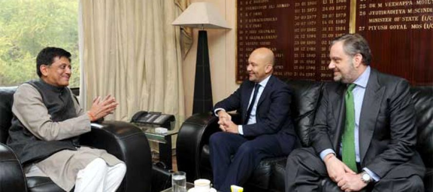 The Minister of State for Commerce, Spain, Jaime Garcia Legaz calls on the MoS (IC) for Power, Coal and New and Renewable Energy,