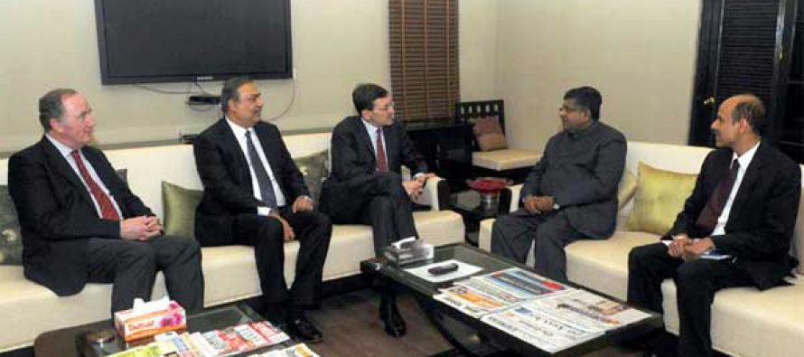 The Group CEO, Vodafone Plc, Vittorio Colao and the Vodafone External Affairs Director, Mr. Matthew Kirk meeting the Union Minister for Communications & Information Technology, Ravi Shankar Prasad