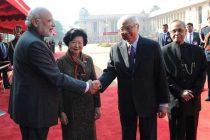 The President, Pranab Mukherjee, the Prime Minister, Narendra Modi, the President of the Republic of Singapore, Dr. Tony Tan Keng Yam