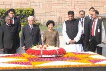 The President of the Republic of Singapore, Dr. Tony Tan Keng Yam and Mary Tan paying homage at the Samadhi of Mahatma Gandhi