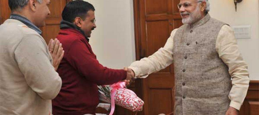 The Delhi Chief Minister-designate, Arvind Kejriwal calls on the Prime Minister, Narendra Modi, in New Delhi on February 12, 2015.
