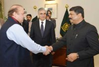 The MoS for Petroleum and Natural Gas (IC), Dharmendra Pradhan meeting the Prime Minister of Pakistan, Nawaz Sharif,