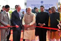 The Prime Minister, Narendra Modi inaugurating the Multimodal Manufacturing Project of GE, in Pune on February 14, 2015.