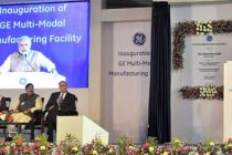 The Prime Minister, Narendra Modi addressing at the inauguration of the Multimodal Manufacturing Project of GE
