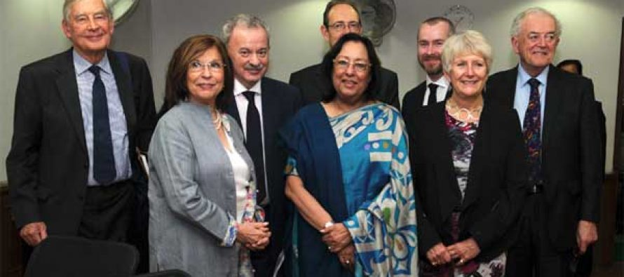 The Union Minister for Minority Affairs, Dr. Najma A. Heptulla with a delegation led by the Lord Speaker, UK, Baroness D'Souza