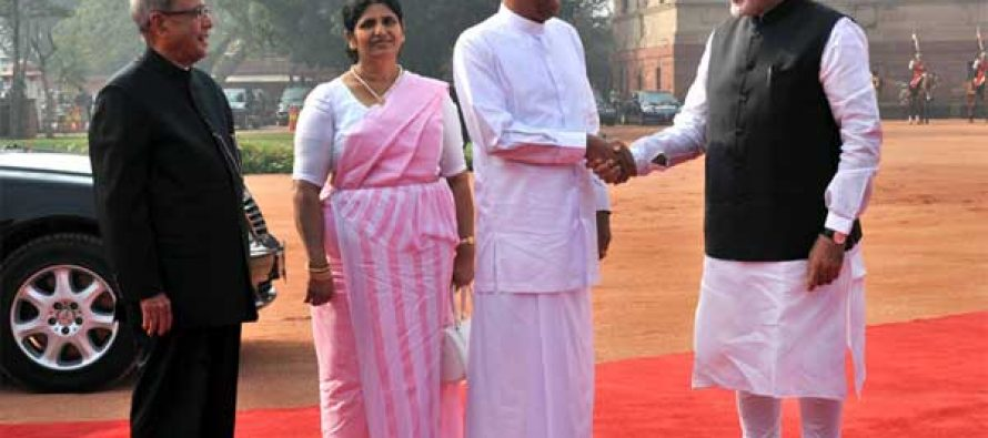 The President of the Democratic Socialist Republic of Sri Lanka, Maithripala Sirisena and Jayanthi Sirisena being welcomed