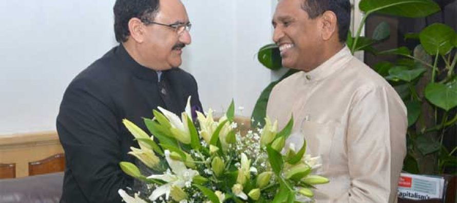 The Minister of Health and Indigenous Medicine, Sri Lanka, Rajitha Senaratne calling on the Minister for Health & Family Welfare, Jagat Prakash Nadda