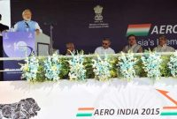 The Prime Minister, Narendra Modi addressing at the Aero India-2015 Air Show, in Bangalore on February 18, 2015.