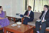 The US Ambassador to India, Richard Verma meeting the Union Minister for Women and Child Development, Maneka Sanjay Gandhi