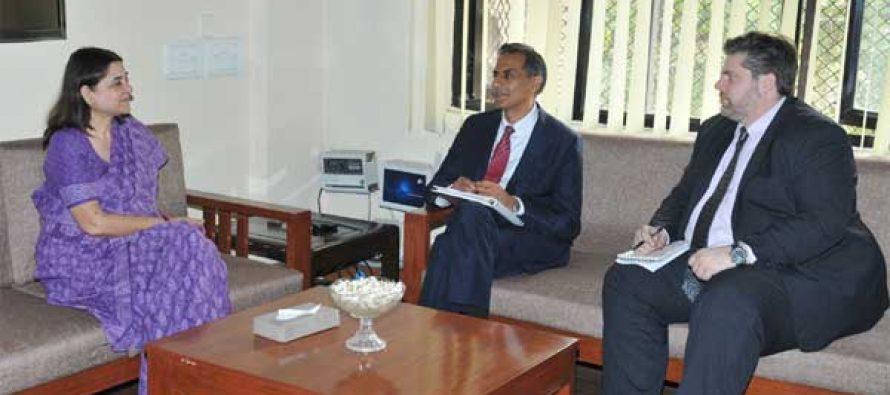 The US Ambassador to India, Richard Verma meeting the Union Minister for Women and Child Development, Maneka Sanjay Gandhi