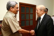 The French Defence Minister, Jean Yves Le Drian calling the Union Minister for Defence, Manohar Parrikar, in New Delhi
