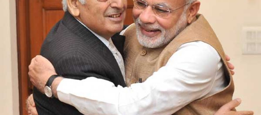 Mufti Mohammad Sayeed meeting the Prime Minister, Narendra Modi, in New Delhi on February 27, 2015.
