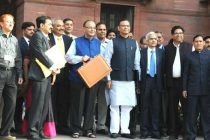 The Minister for Finance, Corporate Affairs and I&B, Arun Jaitley departs from North Block to Parliament House to present the General Budget 2015-16