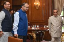 President of India Pranab Mukherjee meeting with Arun Jaitley, Minister of Finance Jayant Sinha MOS (Finance)