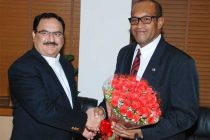 The Minister of Health and Medical Services of Fiji, Jone Usamte calls on the Minister for Health & Family Welfare, Jagat Prakash Nadda