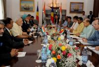 The Prime Minister, Narendra Modi and the President of Seychelles, James Michel at the delegation level talks, in Seychelles