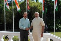 The Prime Minister, Narendra Modi One-to-One meeting the President of Seychelles, James Michel, at State House, in Mahe