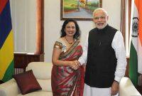 The Prime Minister, Narendra Modi meeting the Speaker, Santi Bai Hanoomanjee, in Mauritius on March 12 2015.