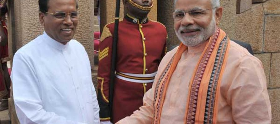 The Prime Minister, Narendra Modi with the President of the Democratic Socialist Republic of Sri Lanka, Maithripala Sirisena,