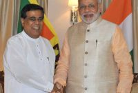 The Leader of the Opposition, Nirmal Sripala de Silva meeting the Prime Minister, Narendra Modi, in Colombo,