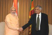 The Prime Minister of Sri Lanka, Ranil Wickremesinghe meeting the Prime Minister, Narendra Modi, in Colombo