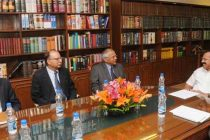 A delegation led by the Chief Justice of Nepal, Ramkumar Prasad Shah meeting the Minister for Law & Justice, D.V. Sadananda Gowda