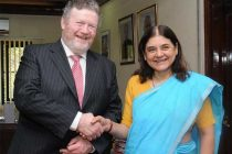 The Minister for Women and Child Development, Maneka Sanjay Gandhi meeting the Minister for Children and Youth Affairs of Ireland, James Reilly, T.D.