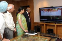 The Union Minister for Human Resource Development, Smriti Irani launching the Grievance Portal of UGC, in New Delhi