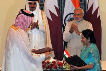 The Prime Minister, Narendra Modi and the Emir of the State of Qatar, His Highness Sheikh Tamim Bin Hamad Al-Thani