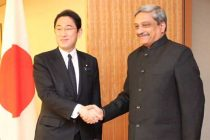 The Union Minister for Defence, Manohar Parrikar calling on the Foreign Minister of Japan, Fumio Kishida, in Tokyo on March 31, 2015.