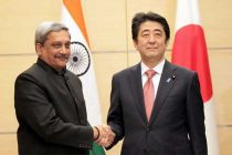 The Minister for Defence, Manohar Parrikar calling on the Prime Minister of Japan, Shinzo Abe, in Japan on March 30, 2015.