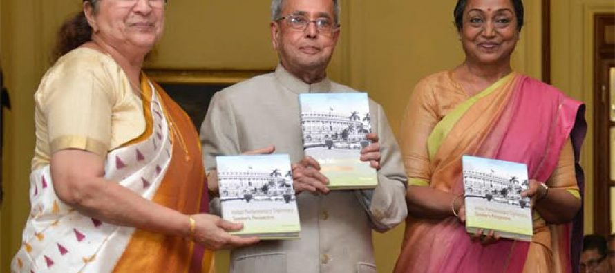 President receives first copy of book by Meira Kumar