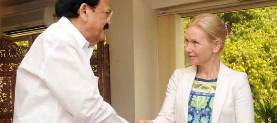 The Minister for Urban Development, Housing and Urban Poverty Alleviation and Parliamentary Affairs, M. Venkaiah Naidu meeting the Minister for Infrastructure of Sweden, Anna Johansson