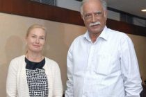 The Minister of Infrastructure, Sweden, Anna Johansson meeting the Minister for Civil Aviation, Ashok Gajapathi Raju Pusapati,