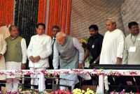 The Prime Minister, Narendra Modi unveiling the plaque to dedicate to the Nation of Rourkela Steel Plant, in Odisha on April 01, 2015.