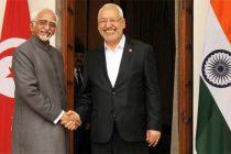 The President of Ennahda Party of Tunisia, Sheikh Rashid Ghannouchi calling on the Vice President, Mohd. Hamid Ansari