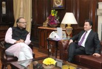 The Deputy Prime Minister, Turkey, Ali Babacan meeting the Union Minister for Finance, Corporate Affairs and I&B, Arun Jaitley