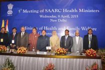 The Minister for Health & Family Welfare, Jagat Prakash Nadda in a group photograph at the 5th SAARC Health Ministers' Meeting