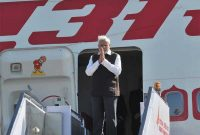 The PM, Narendra Modi departing for his three nation visit to France, Germany and Canada, in New Delhi on April 09, 2015.