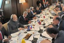 The Prime Minister, Narendra Modi at the Round Table Meeting with the French CEOs on Infrastructure, in Paris on April 10, 2015.